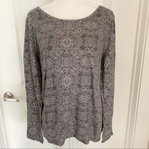 Loft | Metallic Print Long Sleeve Tee NWOT XL
